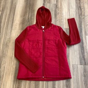 Carolyn Taylor Red hood quilted/sweater size Large